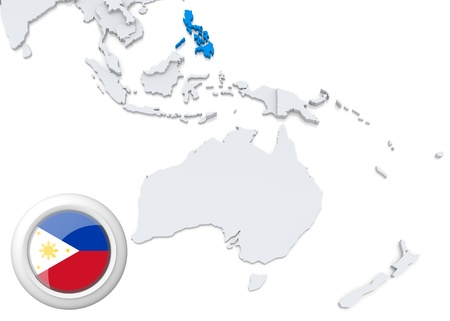 Highlighted Philippines on map of Australia and oceania with national flag