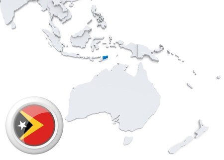 Highlighted Timor on map of Australia and oceania with national flag photo