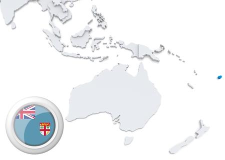 Destacadas Fiji en el mapa de Australia y Oceanía con la bandera nacional Foto de archivo - 21826530