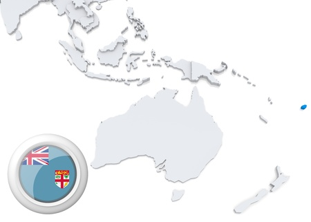 Highlighted Fiji on map of Australia and oceania with national flag