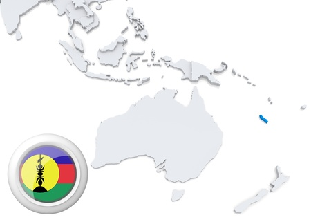 Highlighted New Caledonia on map of Australia and oceania with national flag photo
