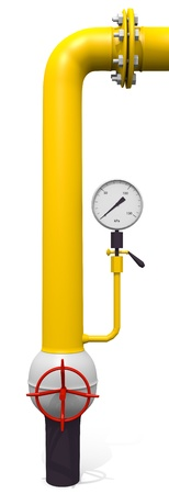 pressure gauge: Yellow pipeline with edges and pressure gauge Stock Photo