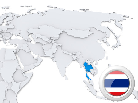 bangladesh: Highlighted Thailand on map of Asia with national flag Stock Photo