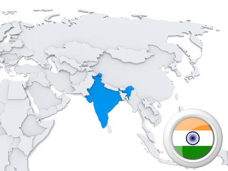 Highlighted India on map of Asia with national flag
