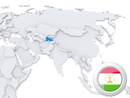 Highlighted Tajikistan on map of Asia with national flag photo