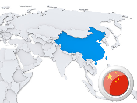 Destacada de China en el mapa de Asia con la bandera nacional Foto de archivo - 22242833