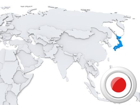 Destacadas en Japón el mapa de Asia con la bandera nacional Foto de archivo - 22242834