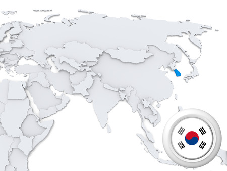 Highlighted South Korea on map of Asia with national flag
