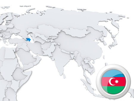 Highlighted Azerbaijan on map of Asia with national flag photo