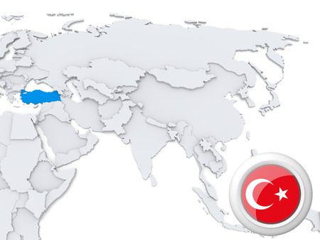 Highlighted Turkey on map of Asia with national flag photo