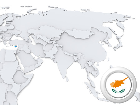 Highlighted Cyprus on map of Asia with national flag photo
