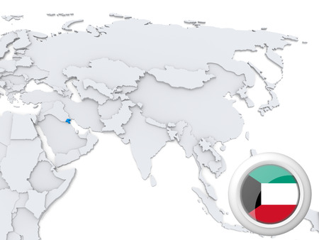 Highlighted Kuwait on map of Asia with national flag photo
