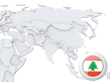 Highlighted Lebanon on map of Asia with national flag