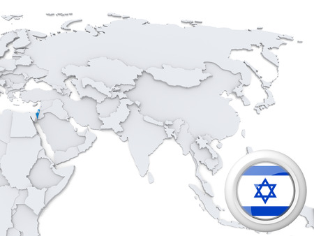 Highlighted Israel on map of Asia with national flag