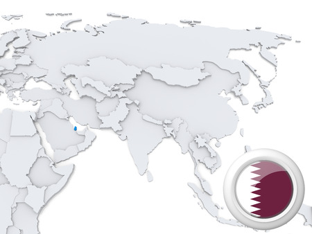 Highlighted Qatar on map of Asia with national flag
