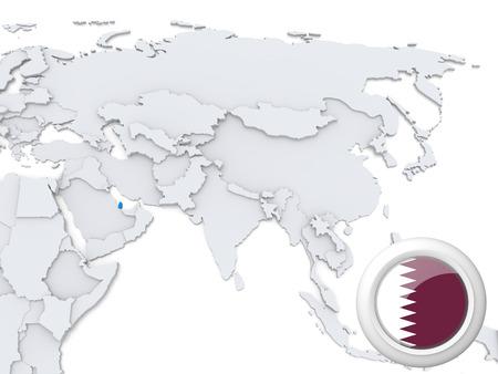 Destacada Qatar en el mapa de Asia con la bandera nacional Foto de archivo - 22242803