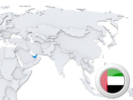 Highlighted United Arab Emirates on map of Asia with national flag Stock Photo