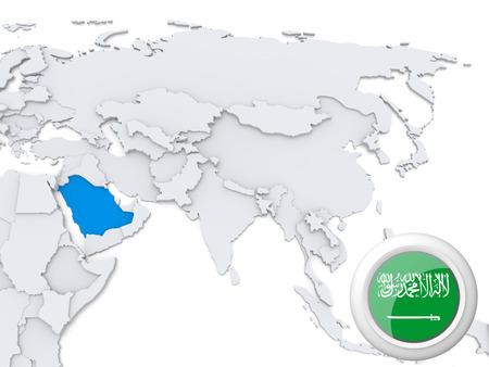 Destacadas en Arabia Saudita en el mapa de Asia con la bandera nacional Foto de archivo - 22242809