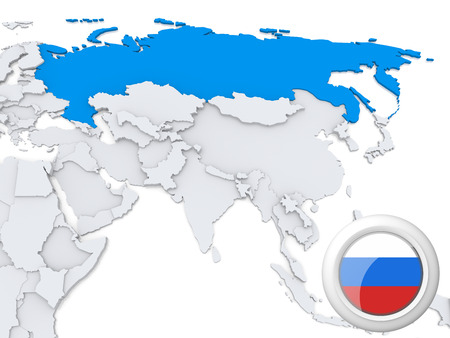 Highlighted Russia on map of Asia with national flag photo