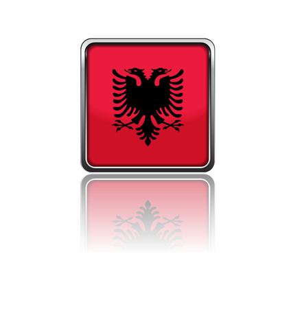 National flag of albania in rectangle frame with reflection