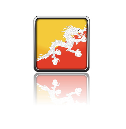 bhutan: National flag of Bhutan in rectangle frame with reflection