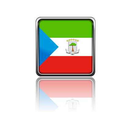 equatorial: National flag of Equatorial Guinea in rectangle frame with reflection Illustration