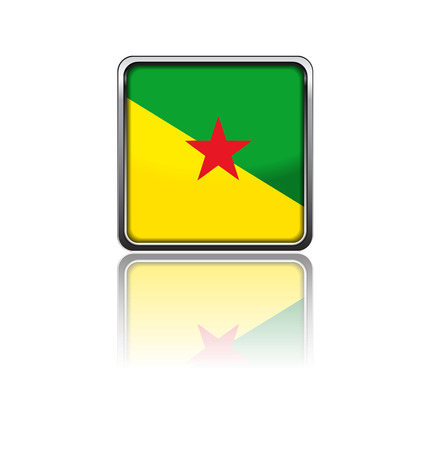 guiana: National flag of French Guiana in rectangle frame with reflection