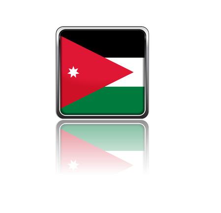 jordanian: Nationale vlag van Jordanië in rechthoek frame met reflectie
