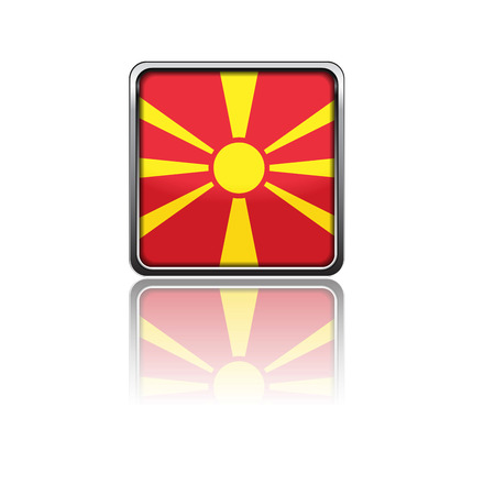 National flag of Macedonia in rectangle frame with reflection Stock Illustratie
