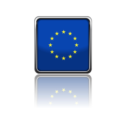 busyness: flag of EU in rectangle frame with reflection Illustration