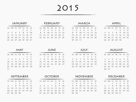 Simply designed calendar for year 2015