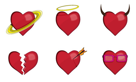 six objects: set of six red heart icons with shadows and objects