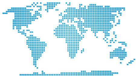 Abstract map of the world made of 3d blue boxes Stock Photo