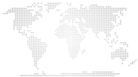 bumps: Abstract map of the world made of 3d white boxes