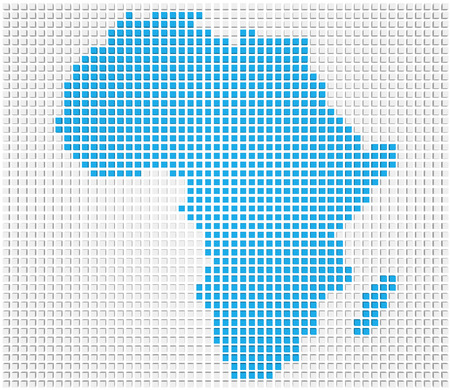 Abstract map of the Africa made of blue and white boxes photo