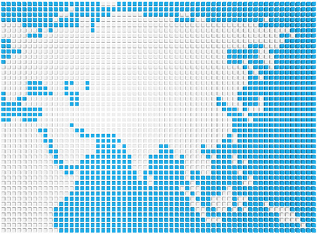Abstract map of the Asia made of blue and white boxes photo