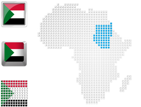Abstract map of Africa with highlighted Sudan and national flag photo