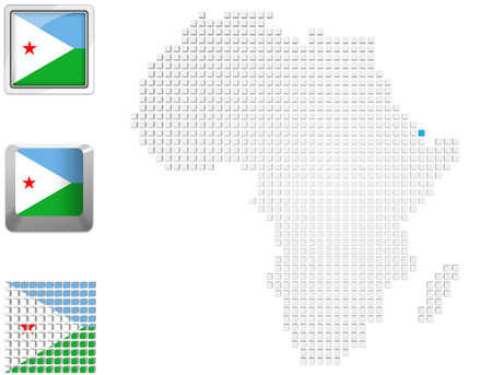 Abstract map of Africa with highlighted Djibouti and national flag photo