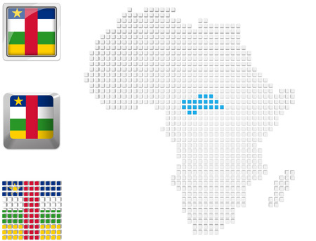 Abstract map of Africa with highlighted Central African Republic and national flag photo