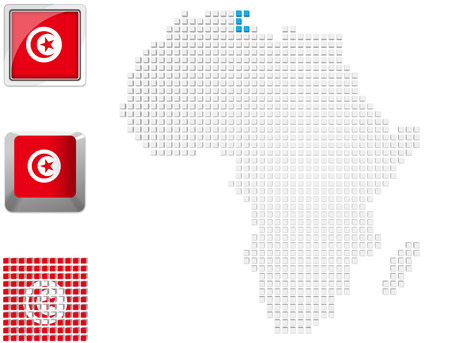 Abstract map of Africa with highlighted Tunisia and national flag photo
