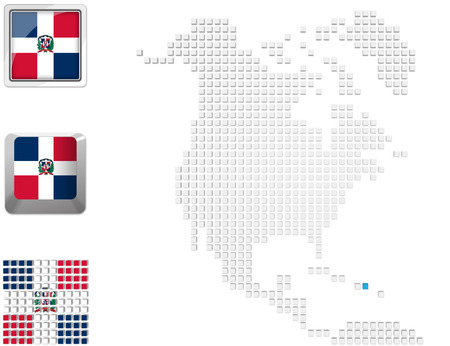 Abstract map of north america with highlighted Dominican republic and national flag photo