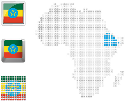 ethiopia abstract: Abstract map of Africa with highlighted Ethiopia and national flag