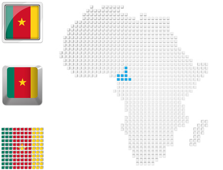 Abstract map of Africa with highlighted Cameroon and national flag Stock Photo