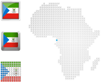 Abstract map of Africa with highlighted Equatorial guinea and national flag photo