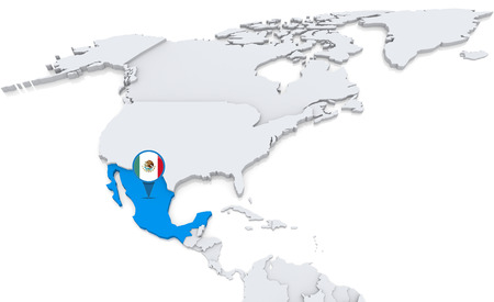 Highlighted Mexico on map of north america with national flag
