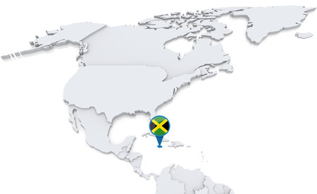 Highlighted Jamaica On Map Of North America With National Flag Stock ...