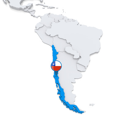 Gemarkeerd Chili op de kaart van Zuid-Amerika met de nationale vlag