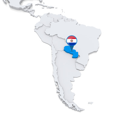 Highlighted Paraguay on map of south america with national flag Фото со стока