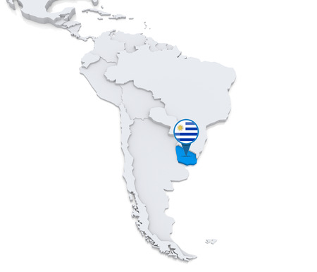 Highlighted Uruguay on map of south america with national flag