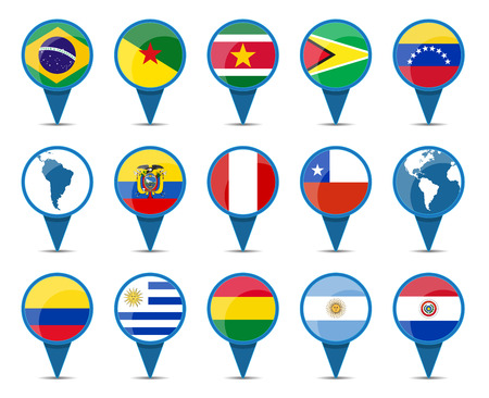 National flags of south America states in sign shape design Vector